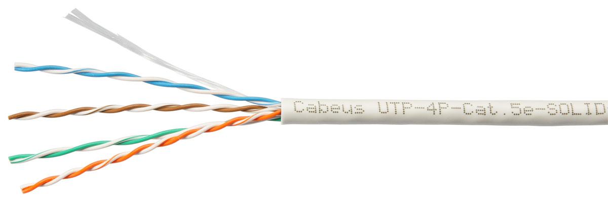 Cabeus UTP-4P-Cat.5e-SOLID-GY Кабель витая пара UTP (U/UTP), категория 5e, 4 пары  0,51мм (24 AWG), одножильный, серый (305 м)